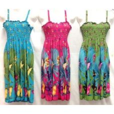 12 of Simple Strap Butterfly Printed Dresses Assorted