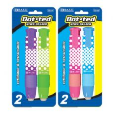 48 of BAZIC Dot.ted Retractable Stick Erasers (2/Pack)