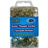 48 of Thumb tacks, gold, 200 ct., reusable box