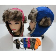 24 of Child's Bomber Hat with Fur Lining--Solid Color