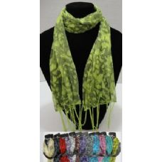 12 of Sheer Scarf with Fringe--Large Cheetah Print with Sparkles