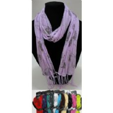 12 of Sheer Scarf with Fringe--Pinstripe/Roses/Sparkle