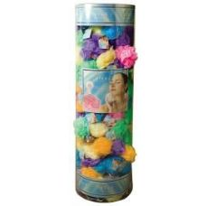 144 of Viva 45 Gr. Exfoliating Bath Sponge w/ Suction Cup In Round Canister Display (Assorted Colors