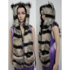 12 of Full Animal Hood with Mittens [Brown/Tan Stripes]