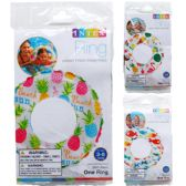 "36 of 20"" LIVELY PRINT SWIM RINGS IN PEGABLE POLY BAG, 3 ASSRT"
