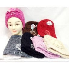 24 of Knit Girl Cap Hats with a fur ball and beads
