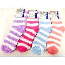 120 of Large Stripes Fuzzy Sock Assorted Colors