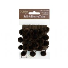 72 of conso 1 yard self adhesive brown trim with brom pom poms