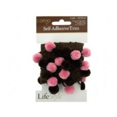 72 of conso self adhesive brown trim with brown/pink pom poms