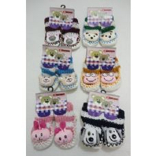 144 of Babies Non-Slip Knitted Booties with Characters [ 6Mos-12Mos]
