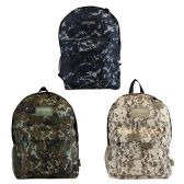 """24 of 17"""" Camouflage Backpacks with Mesh Water Bottle Pocket in 3 Assorted Colors"""