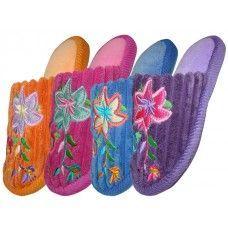 48 of Children's Velvet Floral House Slippers