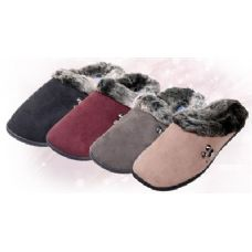 30 of Fake Suede with Faux Fur Trim Women's Slippers