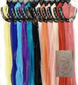48 of Light Weight Scarves Rose with Sparkle Fringes assorted