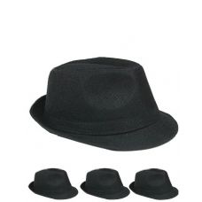 24 of Unisex Fedora Hat In Solid Black