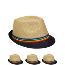 24 of FEDORA HAT WITH BLACK BRIM AND RAINBOW COLORED BAND