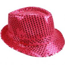24 of PINK SEQUINED FEDORA HAT