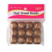 24 of Dreadlock Hair Wood Beads Brown with Stones