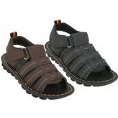 24 of Boy's Soft Man Made Leather Upper Velcro Sandals