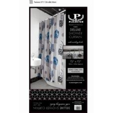 12 of black blue and white deluxe shower curtain