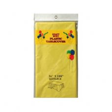 "96 of Rect Plastic Table Cover 54""x108"" Yellow"