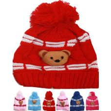 72 of KID WINTER HAT WITH TEDDY BEAR ASSORTED COLOR