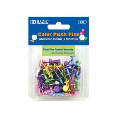 144 of BAZIC Assorted Metallic Color Push Pins (50/Pack)