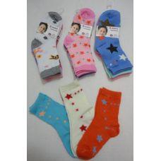 180 of Girl's Printed Crew Socks 4-6
