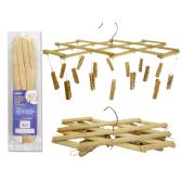 """72 of CLOTHES HANGER W/16PEGS BAMBOO2.3X1/2""""PEG 13"""" LONG"""
