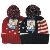 24 of Winter Pom Pom Hat Knit USA Flag