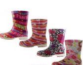 24 of Children's Water Proof Print Rubber Rain Boots