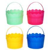 36 of Easter Bucket Plastic 4asst Pastels W/handle & Scallop Top