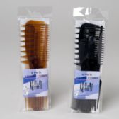 144 of Combs 6pk Styling 2asst Black Or Tortoise Color Pvc Bag W/label