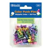 24 of BAZIC Assorted Metallic Color Push Pins (50/Pack)