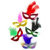 288 of Prismatic Feather Masks Assorted 6ct