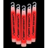 20 of 6 Inch Premium Happy Birthday Glow Sticks- Red