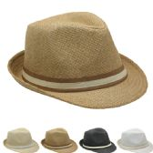 24 of Fashion Straw Fedora Hat With Band (Assorted Colors)