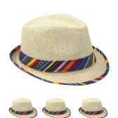 24 of Straw Fedora Hat With Color Band