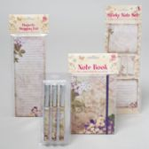 96 of Stationary Shipper 4asst Floral Notebook/shopping List/3pk Pen/ Sticky Note Spring Print 48pcp