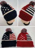 24 of Toboggan Hat with Pompom [American Flag]