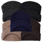 48 of Winter Hat With Visor Assorted Colors