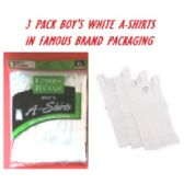 48 of FRUIT LOOM-HANES-GILDAN-BOY 3PK WHITE A-SHIRTS IN FAMOUS BRAND PK