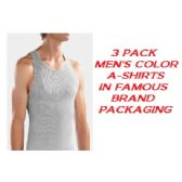 36 of FRUIT LOOM - HANES 3 PACK MEN'S COLOR A-SHIRTS / FAMOUS BRAND PK.