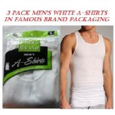 36 of FRUIT LOOM - HANES 3 PK MEN'S WH. A-SHIRTS / FAMOUS BRAND PK
