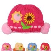 72 of KID WINTER HAT WITH SUN FLOWER ASSORTED