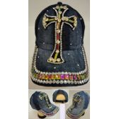 36 of Denim Hat with Bling [Cross]