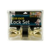 12 of Brass Finish Locking Door Knob Set with 2 Keys