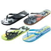 96 of Mans Assorted Tropical Printed Flip Flop