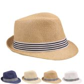 24 of ASSORTED COLOR FEDORA HAT WITH STRIPED BLACK AND WHITE BAND