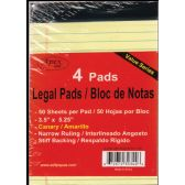 """72 of Legal Pads, 3.5""""x5.25"""", 50 Sheets Each, 4 Pk., Canary"""